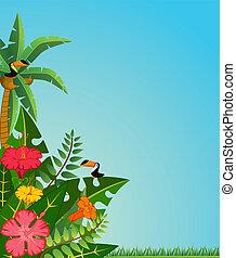 טרופי, צמחים, parrots.