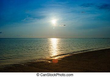 טרופי, שקיעה, ו, סירה, על החוף