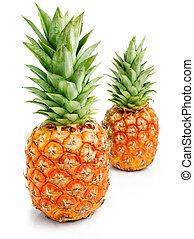 טרי, אננס, פירות, עם, ירוק, *l*