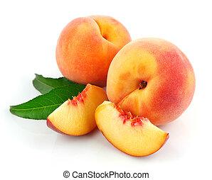 טרי, אפרסק, פירות, עם, ירוק עוזב