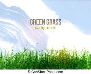 טרי, דשא ירוק, וכחול, sky., וקטור, illustration.