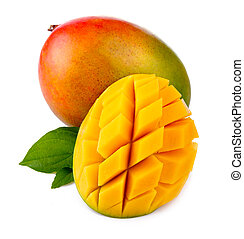 טרי, מאנגו, פרי, עם, חתוך, ו, ירוק, עלים, הפרד