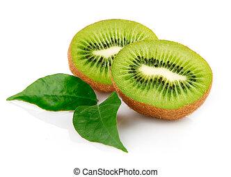 טרי, פרי של קיווי, עם, ירוק עוזב