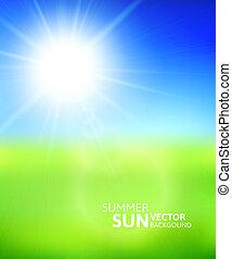 טשטשני, תחום ירוק, וכחול, שמיים, עם, קיץ, שמש