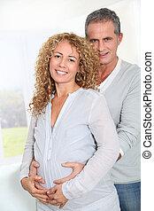 ידיים, אישה, הורים, בטן, בהריון