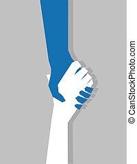 ידיים, מחזיק תשומת-לב, לתלות