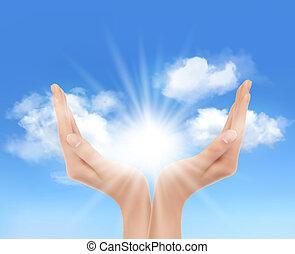 ידיים, עם, a, מואר, sun., vector.