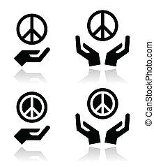 ידיים, קבע, חתום, שלום, איקונים