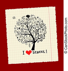 ידע, מושג, עץ, בית ספר, עצב, שלך
