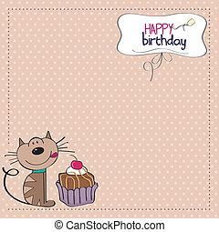 יום הולדת, כרטיס של דש, חתול