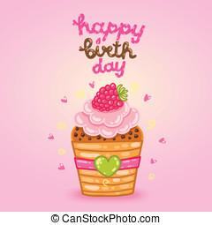 יום הולדת, פטל, cupcake., כרטיס, שמח