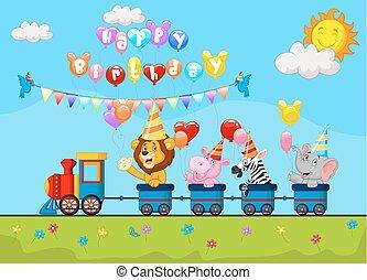 יום הולדת, ציור היתולי, עם, שמח, בעל חיים
