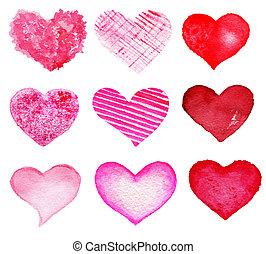 יום, יסודות, set., -, לבבות, האסף, עצב, ולנטיין, העבר, צייר
