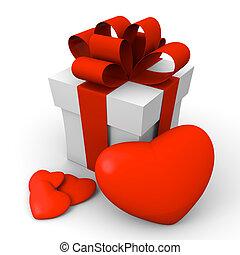 יום של ולנטיין, קופסה של מתנה, עם, אדום, לבבות