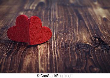 יום של ולנטיינים, אדום, לבבות, ב, ישן, עץ, רקע.