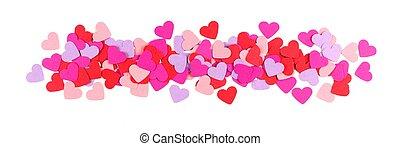 יום של ולנטיינים, גבול, של, נייר, לבבות, הפרד