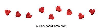 יום של ולנטיינים, הסגר, עם, אדום, hearts., דירה, lay., הפרד, בלבן, רקע.