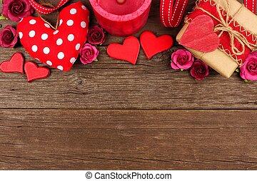 יום של ולנטיינים, הציין, גבול, של, לבבות, מתנות, פרחים, ו, תפאורה, ב, פשוט, עץ