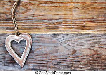 יום של ולנטיינים, -, לב, ב, מעץ, רקע, -, אהוב, סמל