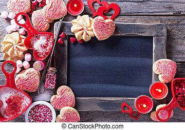 יום של ולנטיינים, עוגיות, מסביב, a, לוח לגיר
