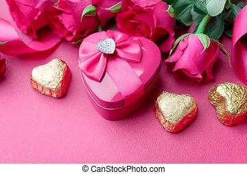 יום של ולנטיינים, קופסה של מתנה, עם, ורדים ורודים, ו, ממתק