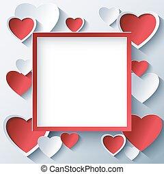 יום של ולנטיינים, ריבוע, הסגר, עם, 3d, לבבות