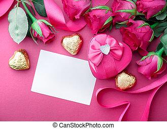 יום של ולנטיינים, רקע, עם, לבבות, ו, roses.