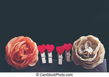 יום של ולנטיינים, רקע, עם, hearts.