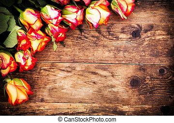 יום של ולנטיינים, רקע, עם, roses.