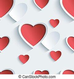 יום של ולנטיינים, seamless, תבנית, עם, 3d, לבבות