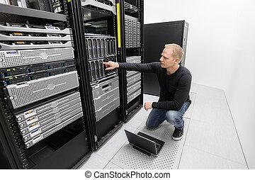 יועץ, עבודה, זה, datacenter