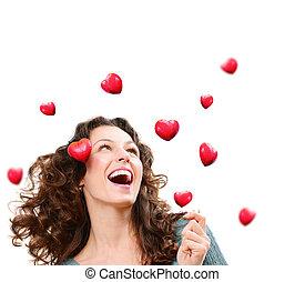 יופי, אישה צעירה, לתפוס, ולנטיין, hearts., אהוב, מושג
