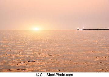 יופי, נוף, עם, עלית שמש, מעל, ים