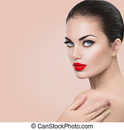 יופי, עצב דוגמא, woman., ילדה, עם, אדום, מיני, שפתיים, וכחול, עיניים