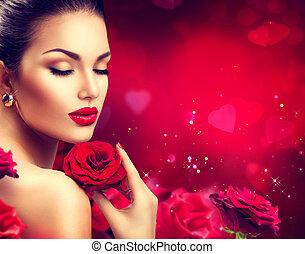 יופי, רומנטי, אישה, עם, עלוה אדום, flowers., יום של ולנטיינים
