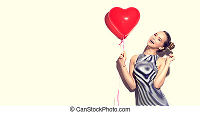יופי, שמח, ילדה מתבגרה, עם, לב אדום, עצב, הבלט, balloon