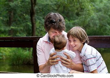 יילוד, אבא, ילדה, לשחק, ילד