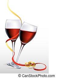 יין, עם, צלצולים של אירוסין