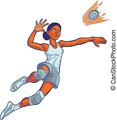 ילדה, *בוער, לקפוץ, כדור עף
