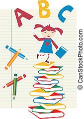 ילדה, בית ספר, השקע, רקע