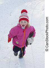 ילדה, השלג
