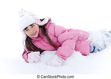 ילדה, השלג, צעיר