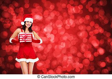 ילדה, חג המולד, gift.