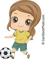 ילדה, כדורגל, צחק