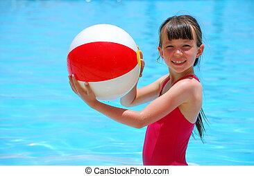 ילדה, כדור, לשחק בריכה