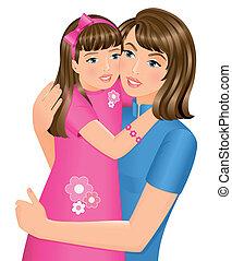 ילדה, לחבק, שלה, אמא