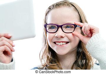 ילדה, לנסות, חדש, glasses.