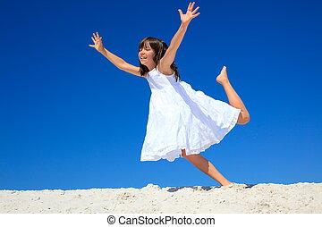 ילדה, לקפוץ, החף