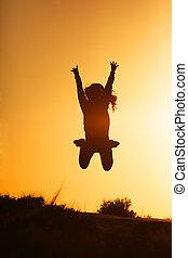 ילדה, לקפוץ, שקיעה