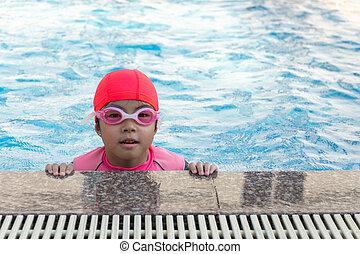 ילדה, לשחות, pool., צעיר